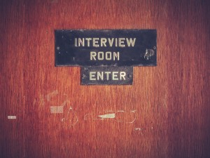 Retro Grunge Interview Room Door